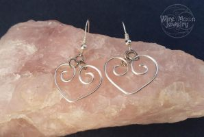 Wire Wrapped Heart Silver Colored Earrings by WireMoonJewelry