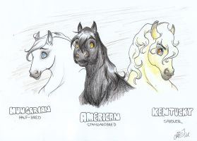 The three horses by KattCattis