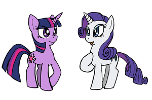Twilight and Rarity Gossip by Blayaden