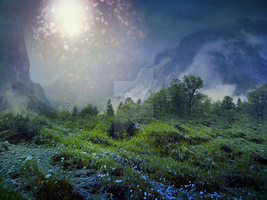 Premade background - Green Landscape by Euselia