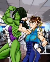 She-Hulk and Chun-Li by PAPERS0UL