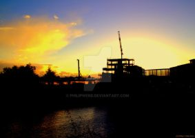 Sunset Behind Construction by PhilipWebb