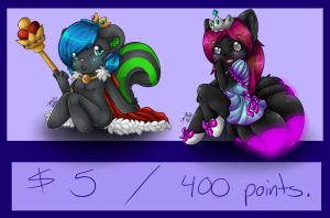 $5/400 points chibis by ShushiKitty