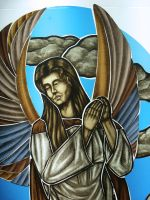 Hand-painted-stained-glass-angel-face-wings by ImaginedGlass