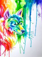 Rainbow Wolf Commission by Lucky978
