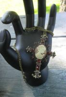 Antiqued Gold Necklace Stunning Cameo Cross by PrettyMeatStuff