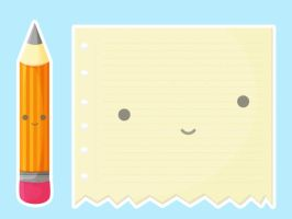 Kawaii Pencil and Paper by apparate