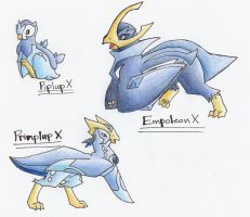 Piplup Evolution Series X by CelestialTentails