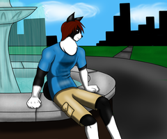 Chilling by the fountain by SilverJinxx