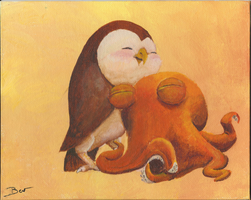 Octopus and Owl Cuddle by curiousSage