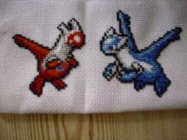 Cross stitch Latios and Latias by phazonwarrior