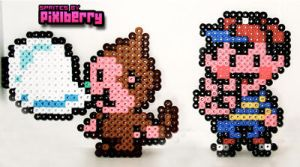 Perler Ness and Monkey by hotpinkflamingo