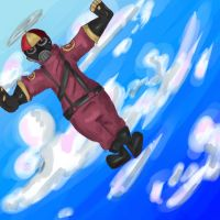 Pyro is flying with his beanie by KittensInABlenDur