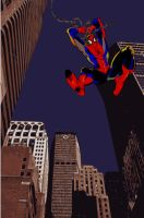 Spiderman in manhattan by lordhelikaon