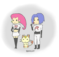 Team Rocket and Meowth by natsumixdaxninja
