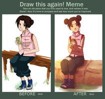 Draw this again meme Tenten by BayneezOne