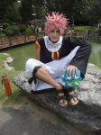 Natsu and Happy on the rock by Azofighter