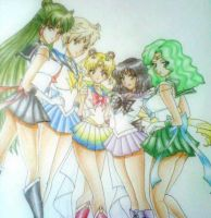 Sailor Moon and Outer Scouts by beezasaurus