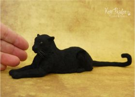 Miniature Black Leopard sculpture by Pajutee
