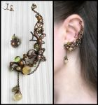 Ear cuff and stud Heather honey by JSjewelry