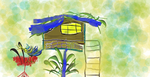 Tree House and Bird by Techette