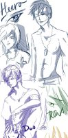 Gundam Wing- Bootcamp sketches by M34g4nCr0w13y