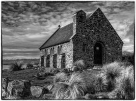Chapel of the good Shepard at lake Tekapo by Deceptico