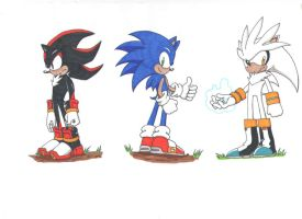 Sonic, Shadow, and Silver by ninetailz3000