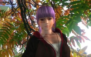 Ayane and autumn leaves (wallpapaer) by AgnessAngel