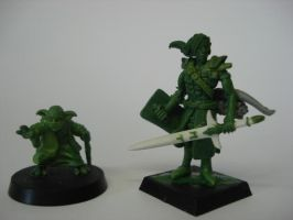 Yoda and Gilead size comp by steveyoungsculptor