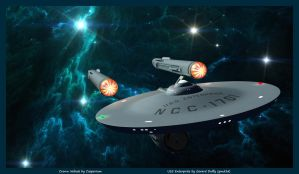 USS Enterprise departs the Crown Nebula by gmd3d