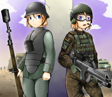 Gun and girl [German Infantry of Past and Present] by deadpeople97