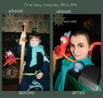 BeforeAfter: Mulan speedcosplay  x3 by Lunnika-Horo
