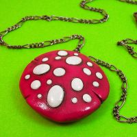 Pink Mushroom Necklace by beatblack