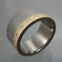 Gold Titanium and Diamond Ring by Spexton