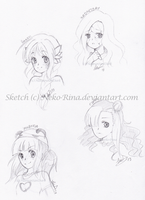 Face sketches by Neko-Rina