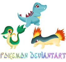 pokemon 3D commision snivy totodile quilava by yuukiXakira