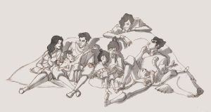 Legend of Korra, reading session, pencil by Saperlotte