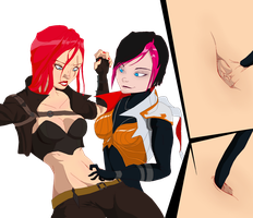 Katarina's bellybutton fingered by Fiora by Navel-HMO