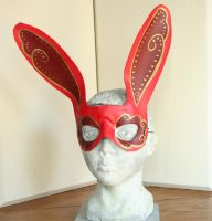Fancy Red Rabbit Mask by nondecaf