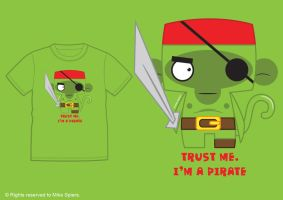 PIRATE MONKEY TEE by spiers84