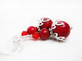 Red Swarovski Crystal Earrings by pila12903