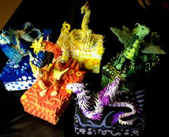 Elemental Box Dragons by SonsationalCreations