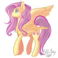 FlutterShy Fanart by BlueKazenate