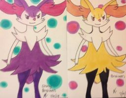 Braixen and Shiny Braixen by xSammyKayx