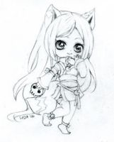 Commission Wolf girl chibi by ButterflyWingies