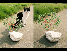 Tree and cat by beads-poet