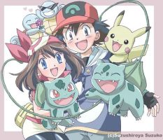 May, Ash and their Pokemon by ManaphyandMaylover95