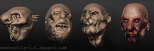 Horror Heads Sculptris Small by jameswolf