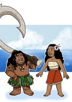 Kid Moana and Maui by Chouly-only